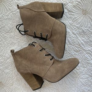 BCBG BG-Luca Suede Lace Up Ankle Bootie Taupe 8.5